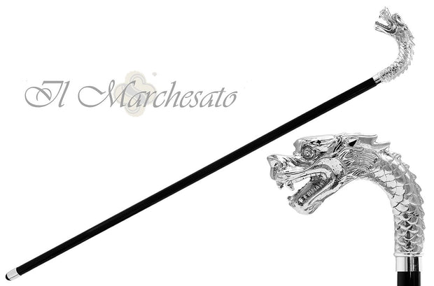 Silver plated Dragon cane - il-marchesato