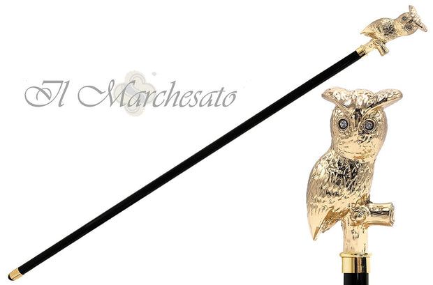 24K Owl on branch Walking cane - il-marchesato