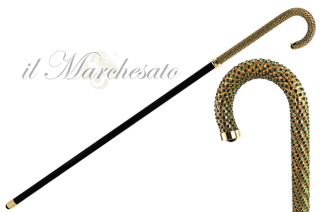 Luxury Walking stick Encrusted with hundreds Emerald Crystals - IL MARCHESATO LUXURY UMBRELLAS, CANES AND SHOEHORNS