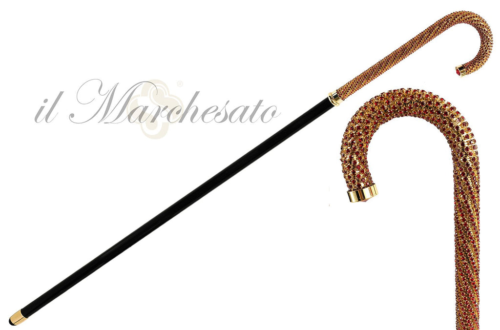 Luxury Walking stick Encrusted with hundreds Red Crystals - IL MARCHESATO LUXURY UMBRELLAS, CANES AND SHOEHORNS