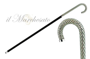 Luxury Walking stick Encrusted with hundreds Green Crystals - IL MARCHESATO LUXURY UMBRELLAS, CANES AND SHOEHORNS