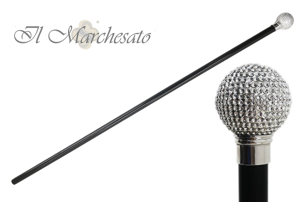 Swarovski Crystal Encrusted Small Knob Walking Stick with Black Beechwood Shaft and Collar - il-marchesato