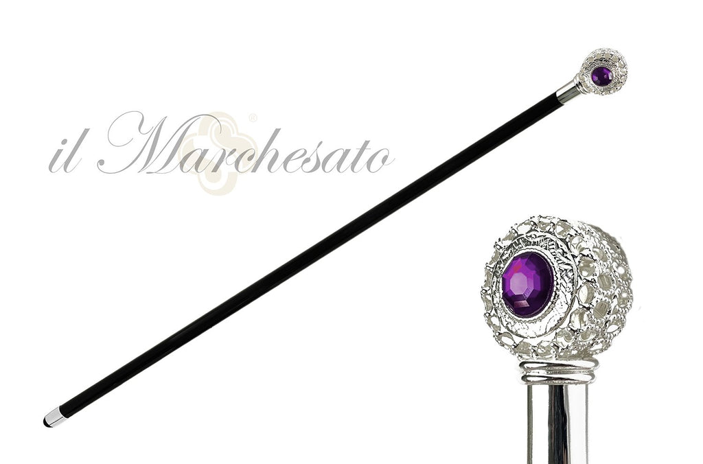Luxury Evening Walking Stick Silver Plated Handle - IL MARCHESATO LUXURY UMBRELLAS, CANES AND SHOEHORNS