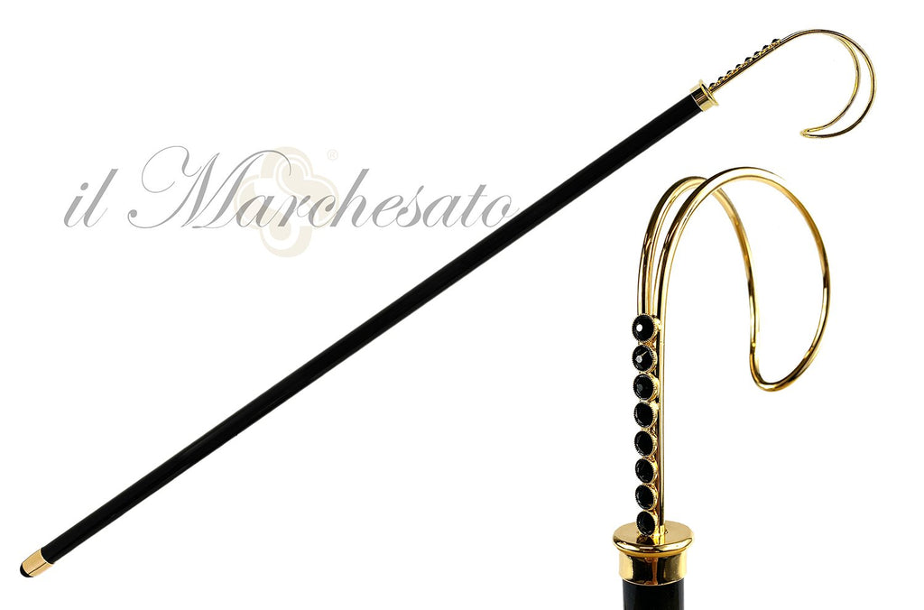 LUXURY BLACK SWAROVSKI CRYSTAL CANE