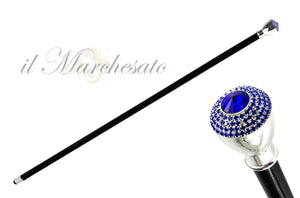 Walking Stick With Stone and Sapphire Color rhinestones - IL MARCHESATO LUXURY UMBRELLAS, CANES AND SHOEHORNS
