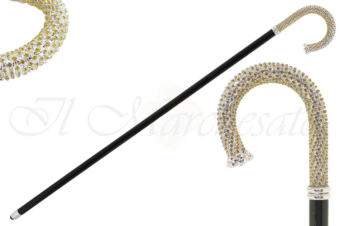 Luxury Walking stick Encrusted with hundreds Topaz Crystals - il-marchesato