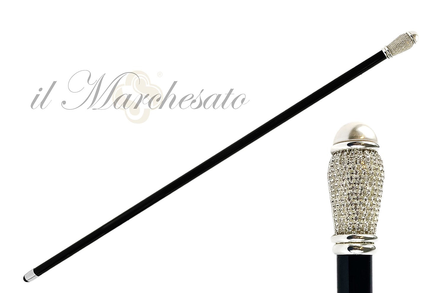 Evening Cane with Crystals and Pearl - IL MARCHESATO LUXURY UMBRELLAS, CANES AND SHOEHORNS
