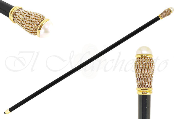 Refined Walking Cane with crystals and pearl - il-marchesato