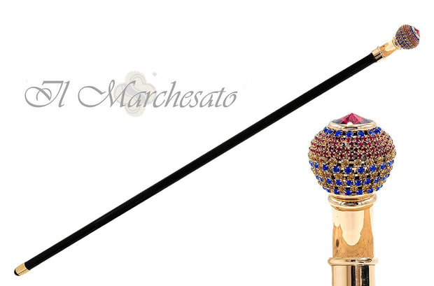 Handmade Walking stick jewel with tricolor crystals - il-marchesato