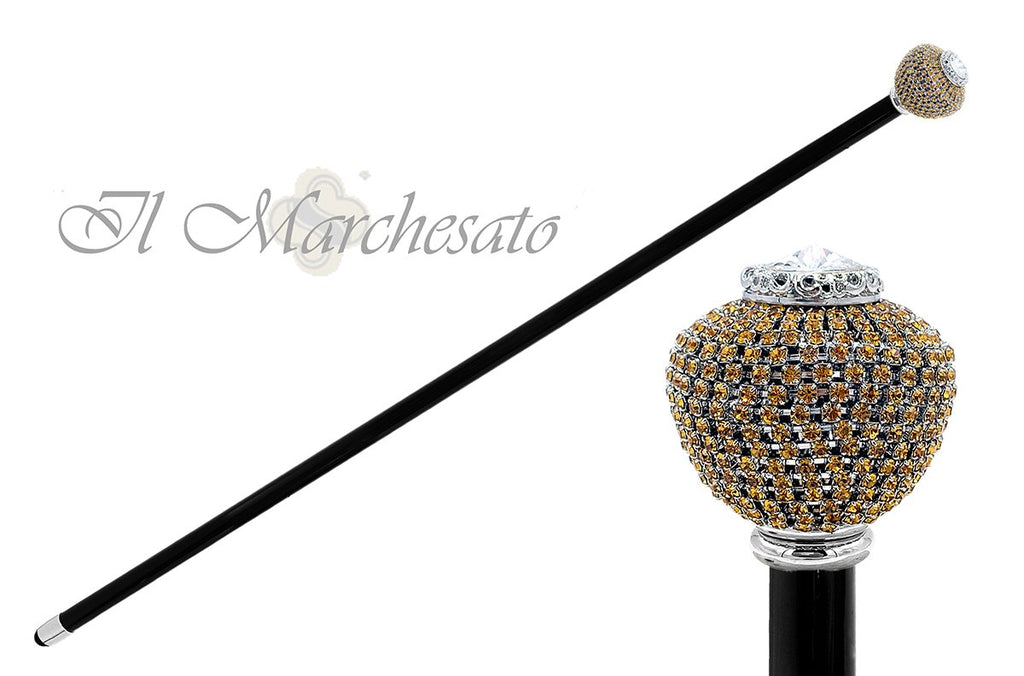 Luxurious round Knob with Topaz crystals - il-marchesato