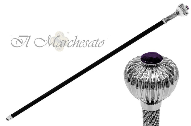 "Silverplated ""flower"" walking stick with crystals - il-marchesato"