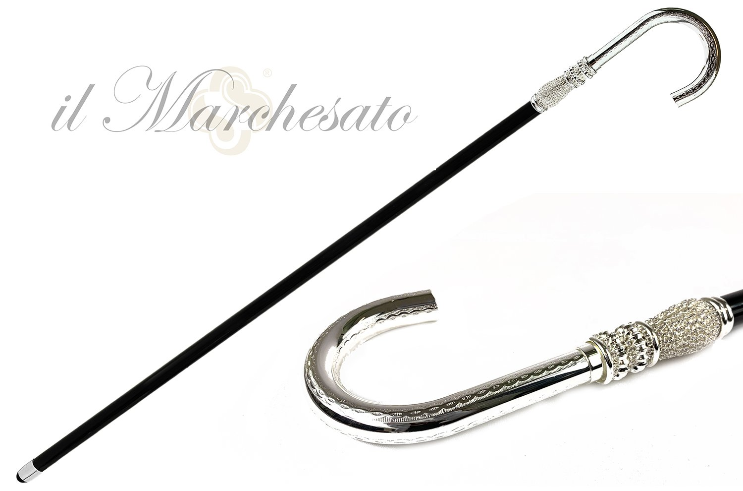 Curved Walking cane for Man in silver-plated brass and crystals - IL MARCHESATO LUXURY UMBRELLAS, CANES AND SHOEHORNS