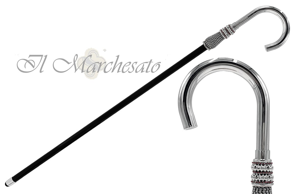 Silver plated Luxury Walking stick - handmade in Italy - il-marchesato