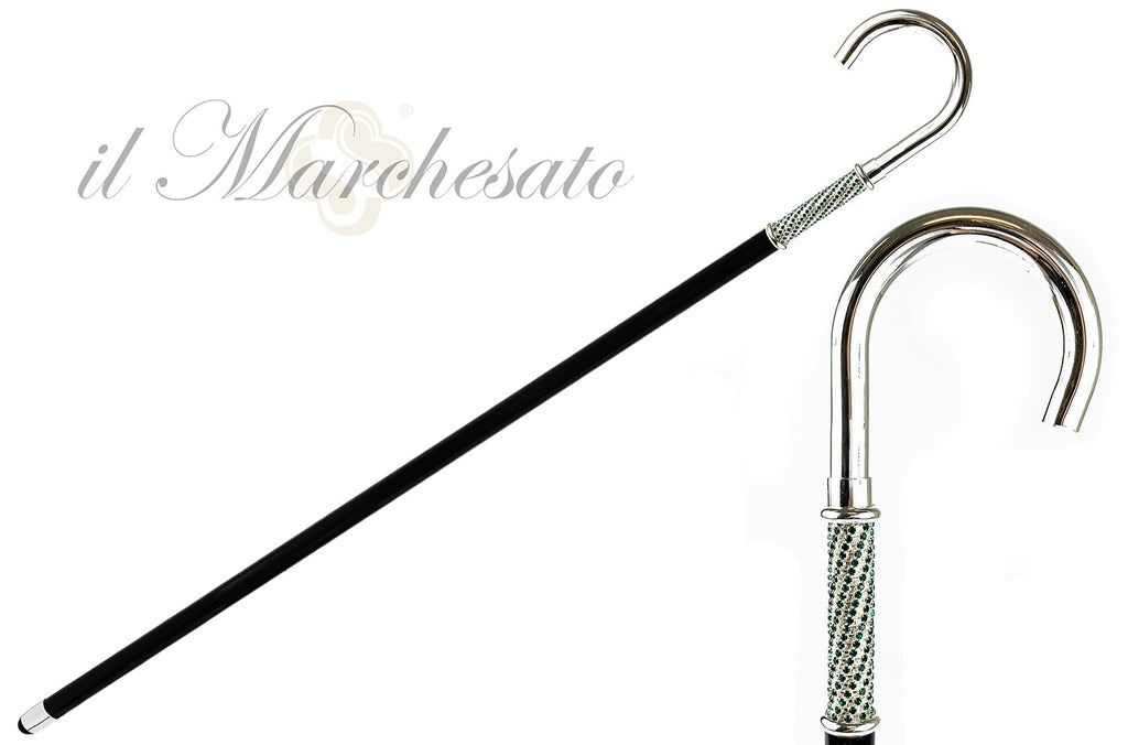Walking Stick With Silver Plated Handle, Full of Emerald Rhinestones - IL MARCHESATO LUXURY UMBRELLAS, CANES AND SHOEHORNS