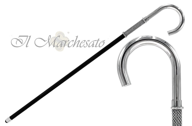 Silver plated Luxury Walking stick - handmade in Italy - created from brass - il-marchesato