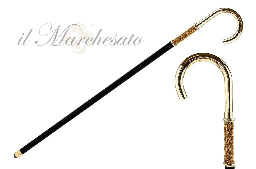 24K gold-plated with Topaz crystals - IL MARCHESATO LUXURY UMBRELLAS, CANES AND SHOEHORNS