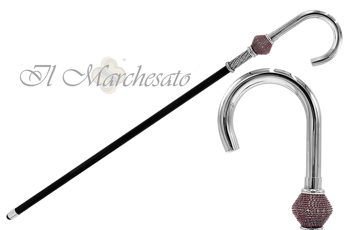 Special Handmade Walking stick - Siam and white crystal - il-marchesato