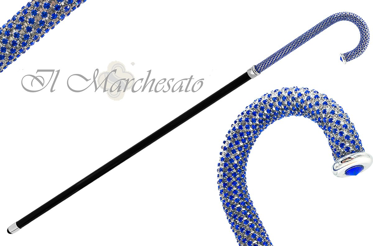 Portentous Walking stick - Brilliant Sapphire crystal on silver plated brass - il-marchesato