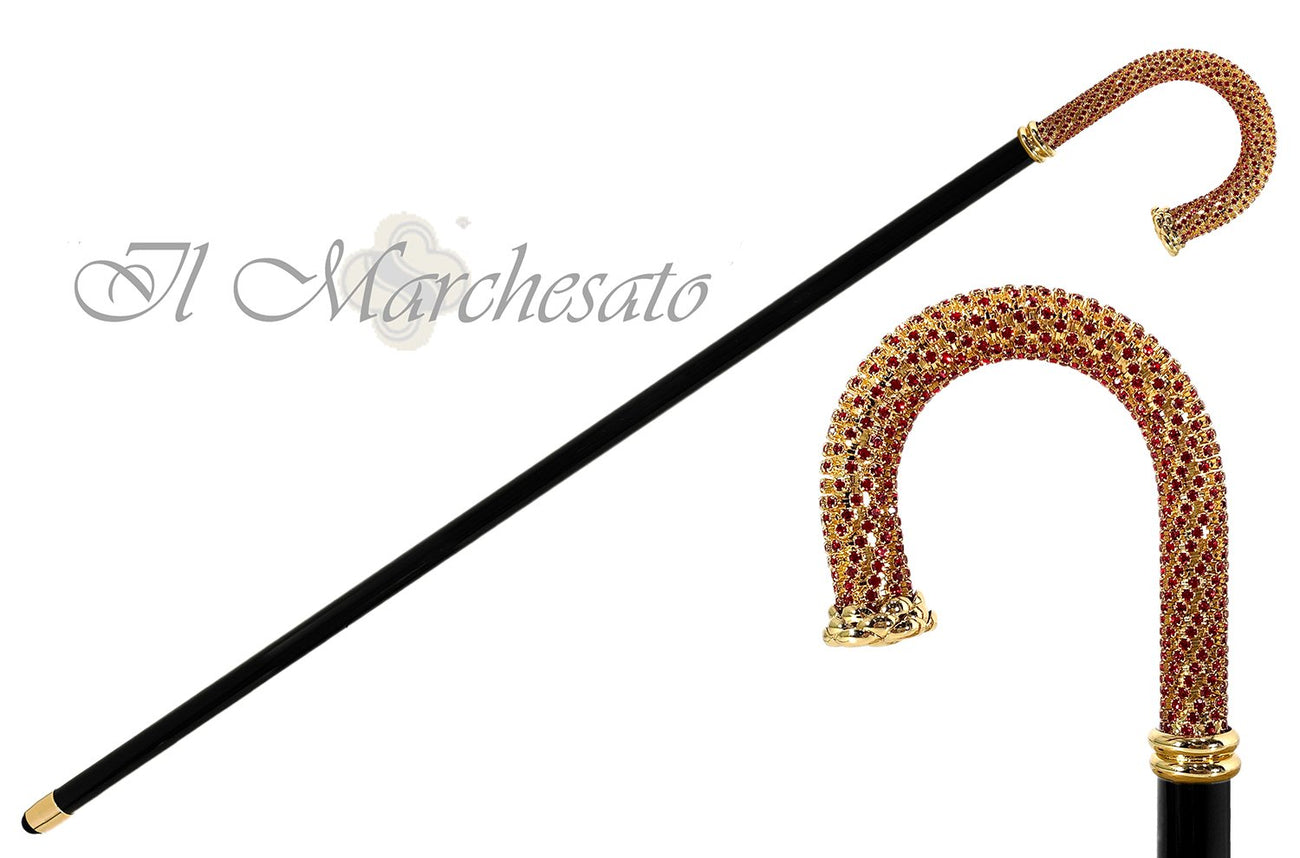 Red Siam crystals - 24K goldplated Walking stick - il-marchesato