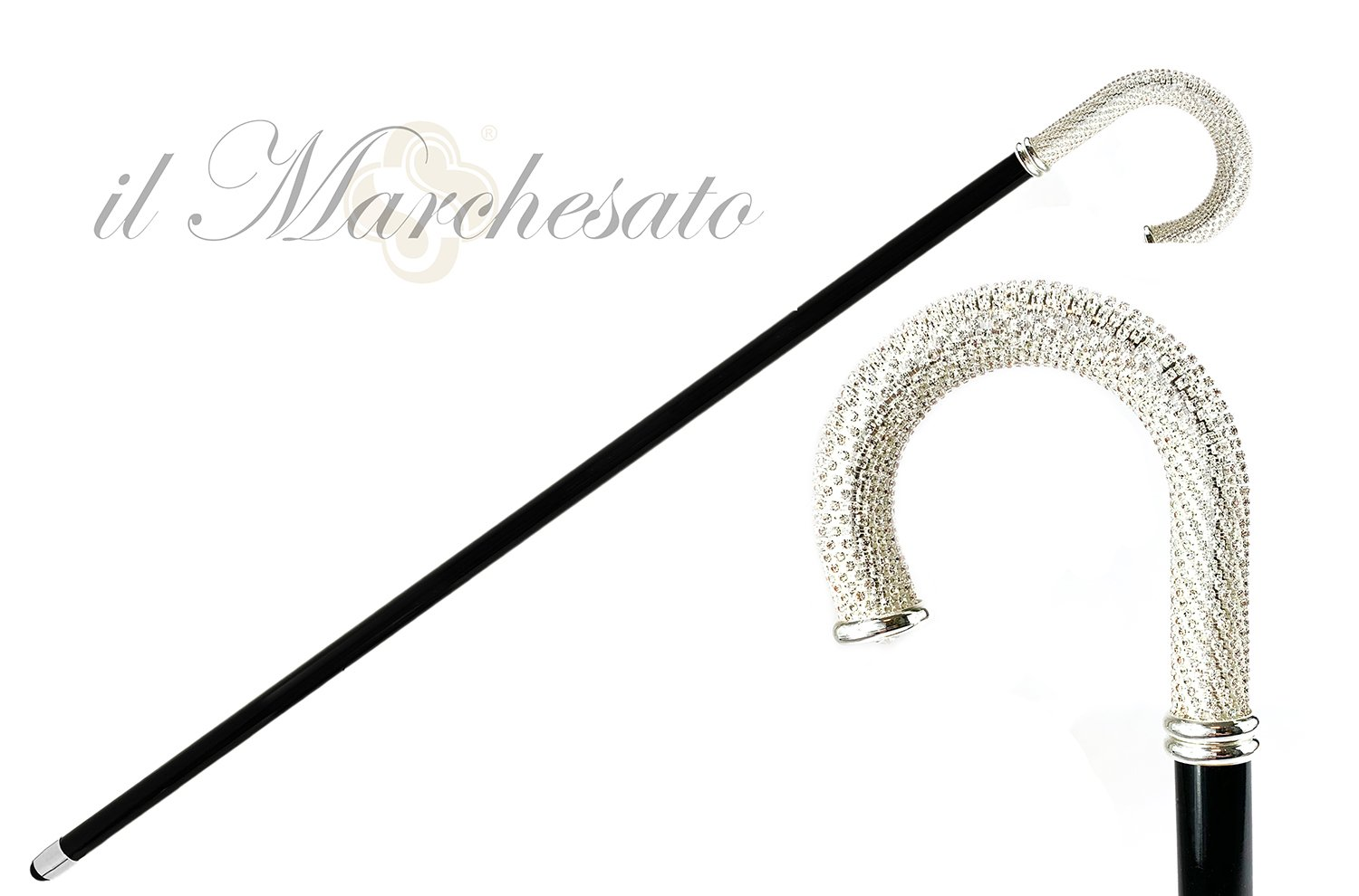 Luxury Walking stick for Man with thousands of white crystals - IL MARCHESATO LUXURY UMBRELLAS, CANES AND SHOEHORNS