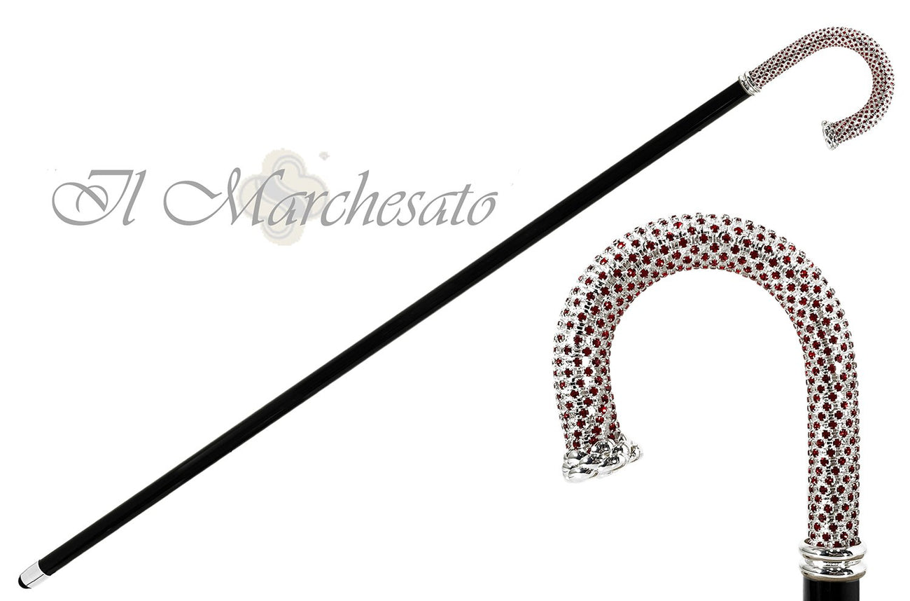 Il Marchesato Bright Walking stick - Siam crystal on silver plated brass - il-marchesato