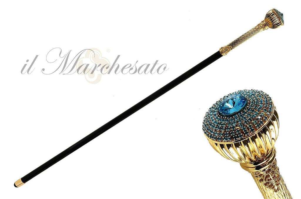 Elegant Walking Stick With Aquamarine - IL MARCHESATO LUXURY UMBRELLAS, CANES AND SHOEHORNS