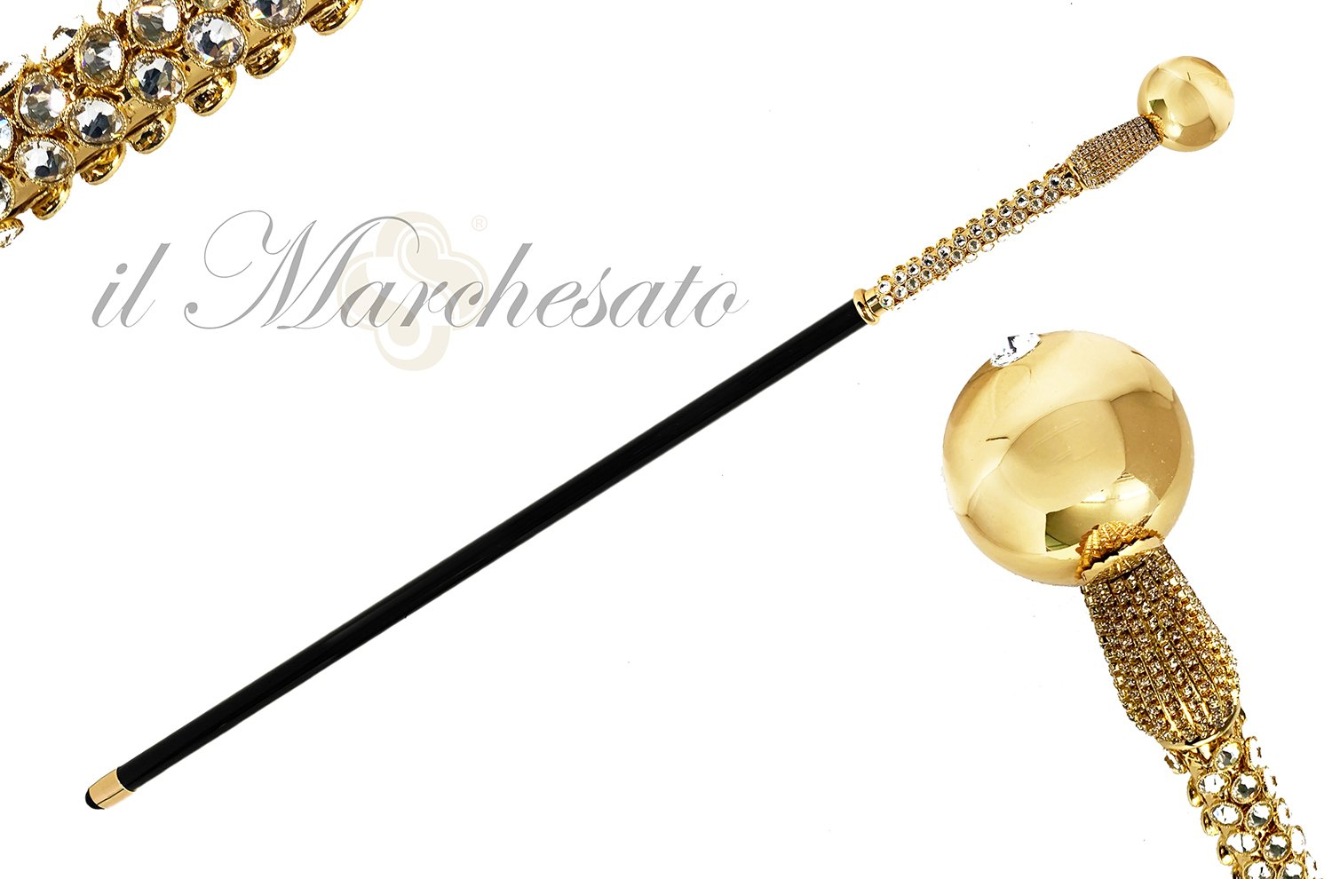 LUXURY BRASS BALL  SWAROVSKI CRYSTALS ENCRUSTED