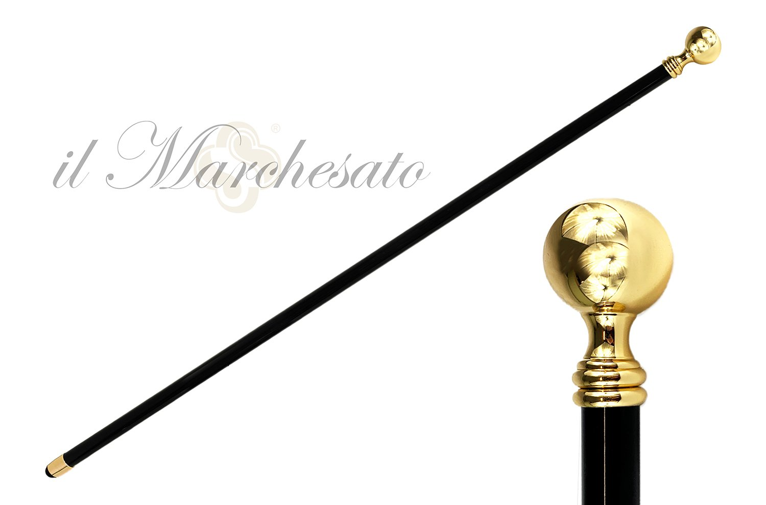 Gold Plated Round Ball Knob Style Cast Brass - IL MARCHESATO LUXURY UMBRELLAS, CANES AND SHOEHORNS
