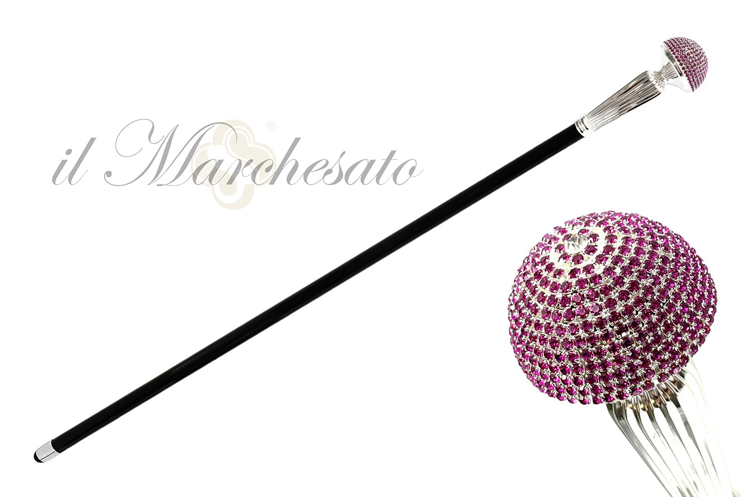 LUXURY FUCHSIA CRYSTALS CANE