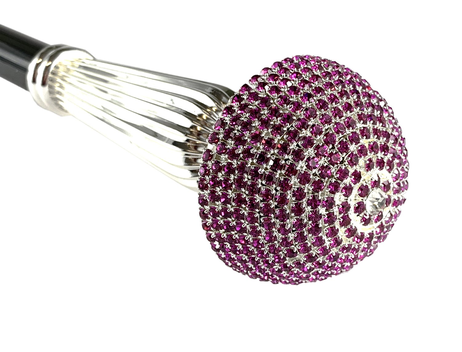 Luxurious Collectible Walking Stick - Fuchsia Crystals - IL MARCHESATO LUXURY UMBRELLAS, CANES AND SHOEHORNS
