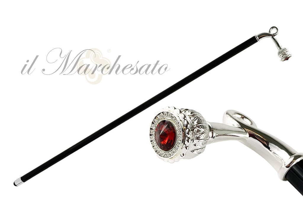 Sturdy Walking Stick With Red Swarovski Crystal - IL MARCHESATO LUXURY UMBRELLAS, CANES AND SHOEHORNS