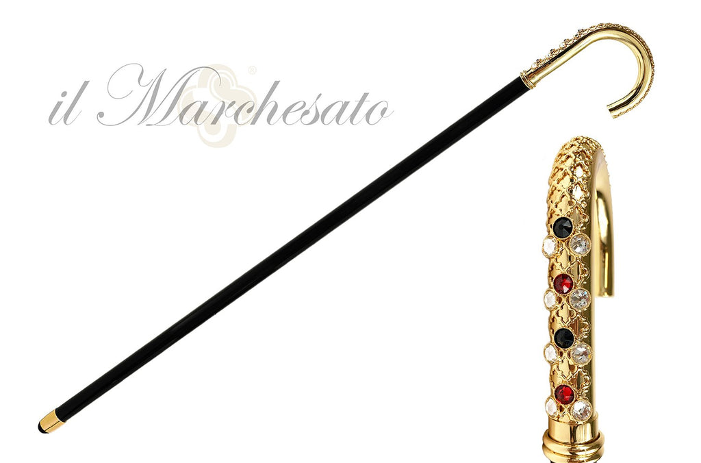 Goldplated brass Handle - Luxury canes for men - IL MARCHESATO LUXURY UMBRELLAS, CANES AND SHOEHORNS
