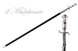 Walking stick with silverplated Sword handle - IL MARCHESATO LUXURY UMBRELLAS, CANES AND SHOEHORNS