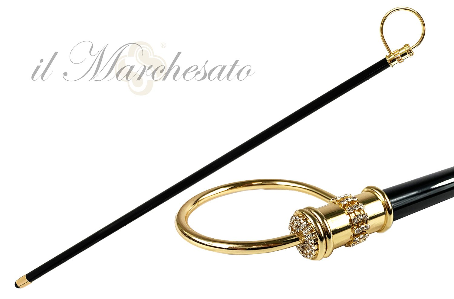 Original collectible Walking stick with crystals - IL MARCHESATO LUXURY UMBRELLAS, CANES AND SHOEHORNS