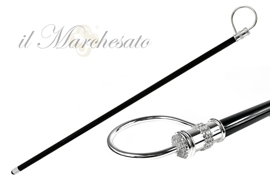 Elegant collectible Silverplated Walking stick - IL MARCHESATO LUXURY UMBRELLAS, CANES AND SHOEHORNS
