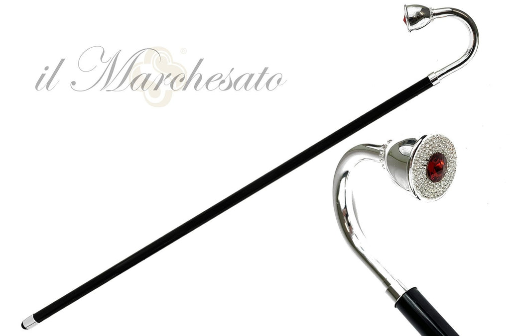 Curved Walking cane in silver-plated brass - IL MARCHESATO LUXURY UMBRELLAS, CANES AND SHOEHORNS