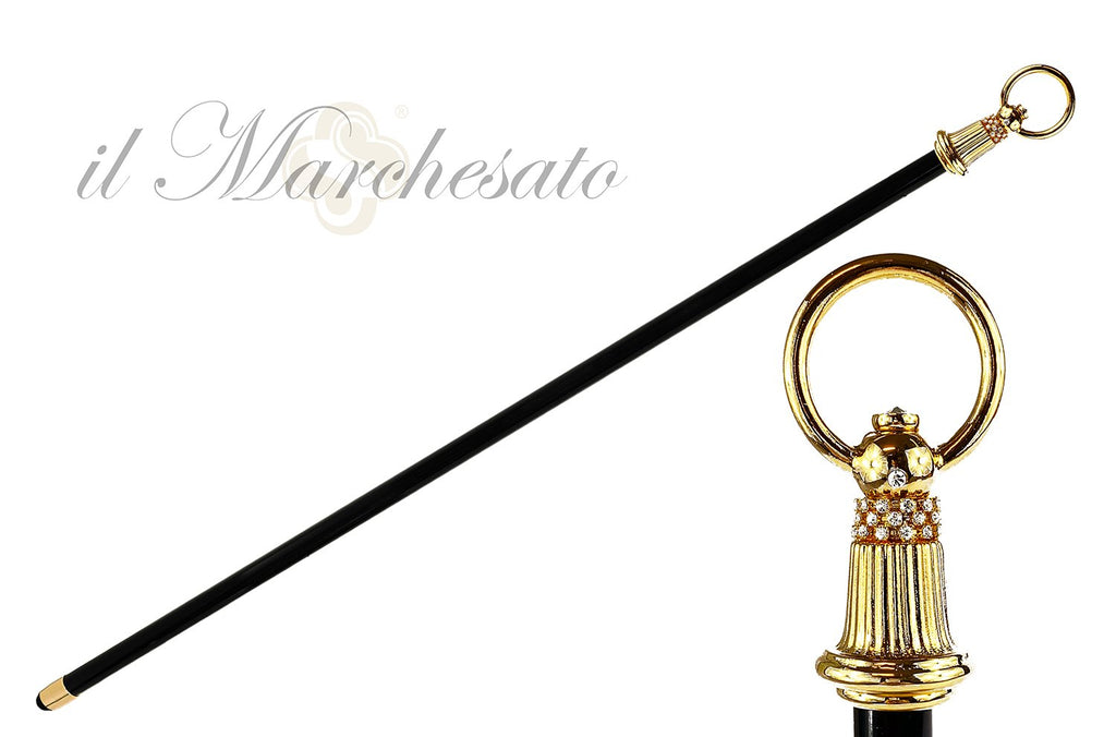 Luxury walking stick with bell handle - IL MARCHESATO LUXURY UMBRELLAS, CANES AND SHOEHORNS