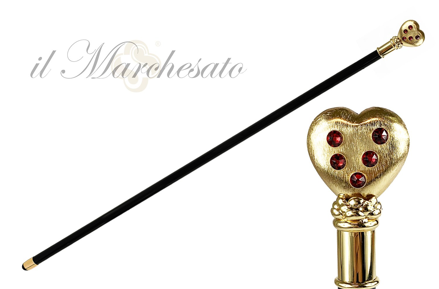 Collectible stick with 24K goldplated heart - IL MARCHESATO LUXURY UMBRELLAS, CANES AND SHOEHORNS