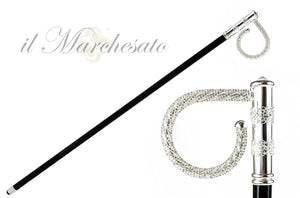 Beauty Walking stick with crystals - Silver-plated 925 - IL MARCHESATO LUXURY UMBRELLAS, CANES AND SHOEHORNS