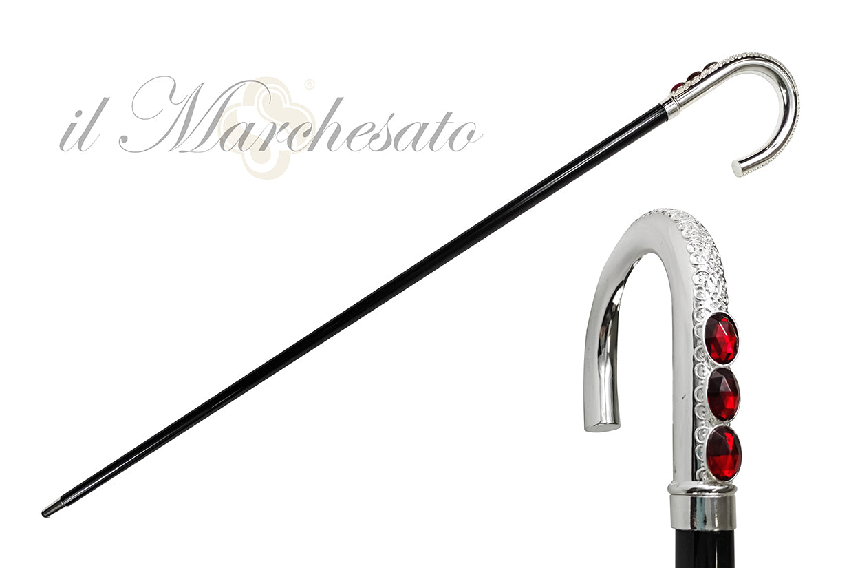 Sturdy Walking cane With Red Crystal