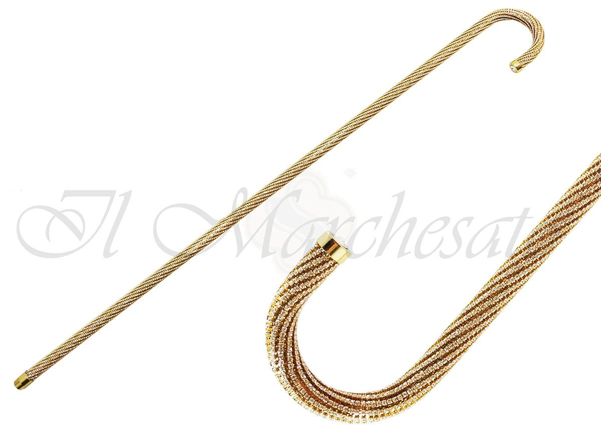 Crook Walking Cane Encrusted with Swarovski Elements - il-marchesato