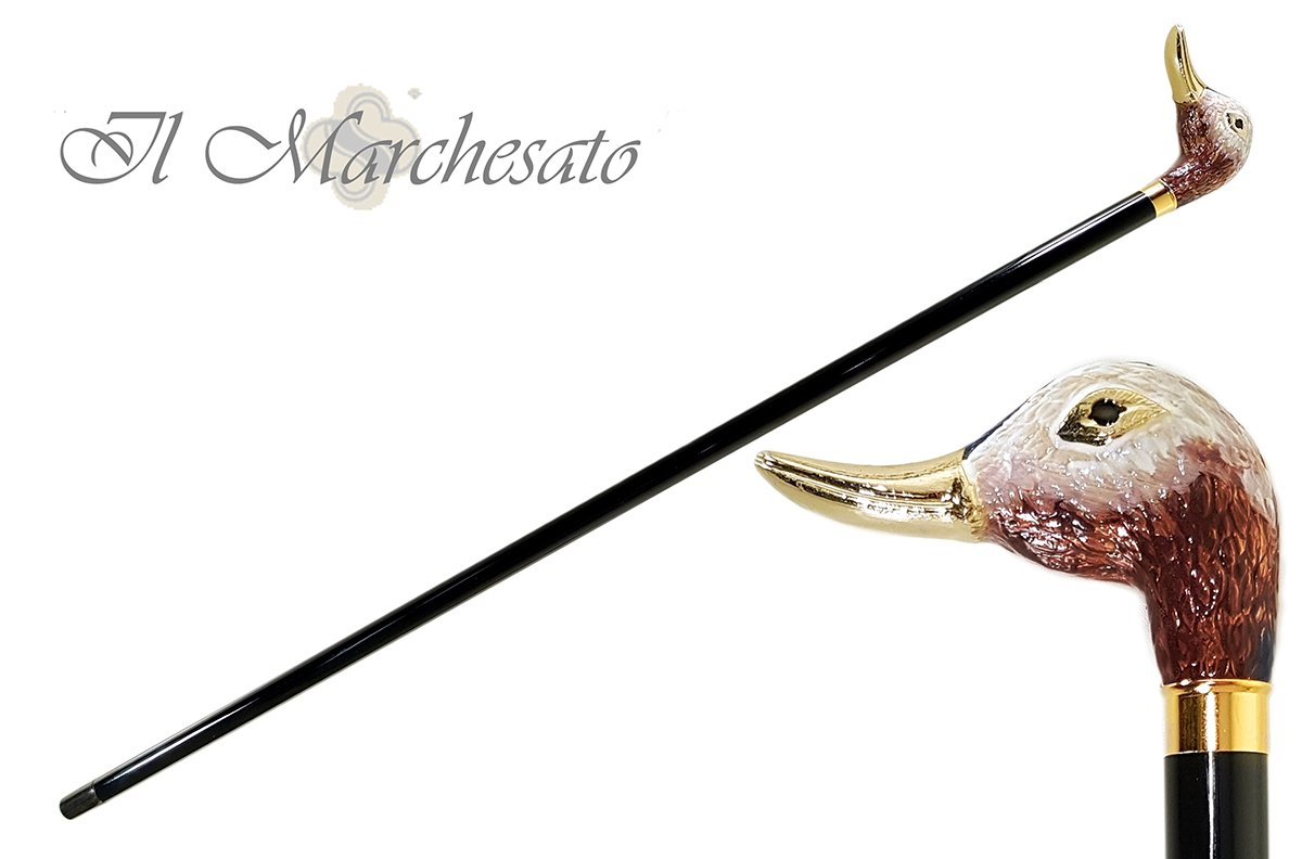 Walking Stick with a Hand-Enamelled Duck Head on 24k Gold - il-marchesato
