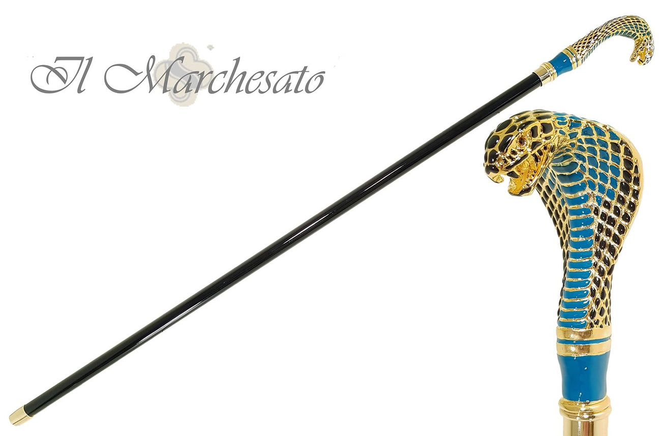 Fantastic Gold Plated Cobra - Hand Enamelled - Walking Cane - il-marchesato