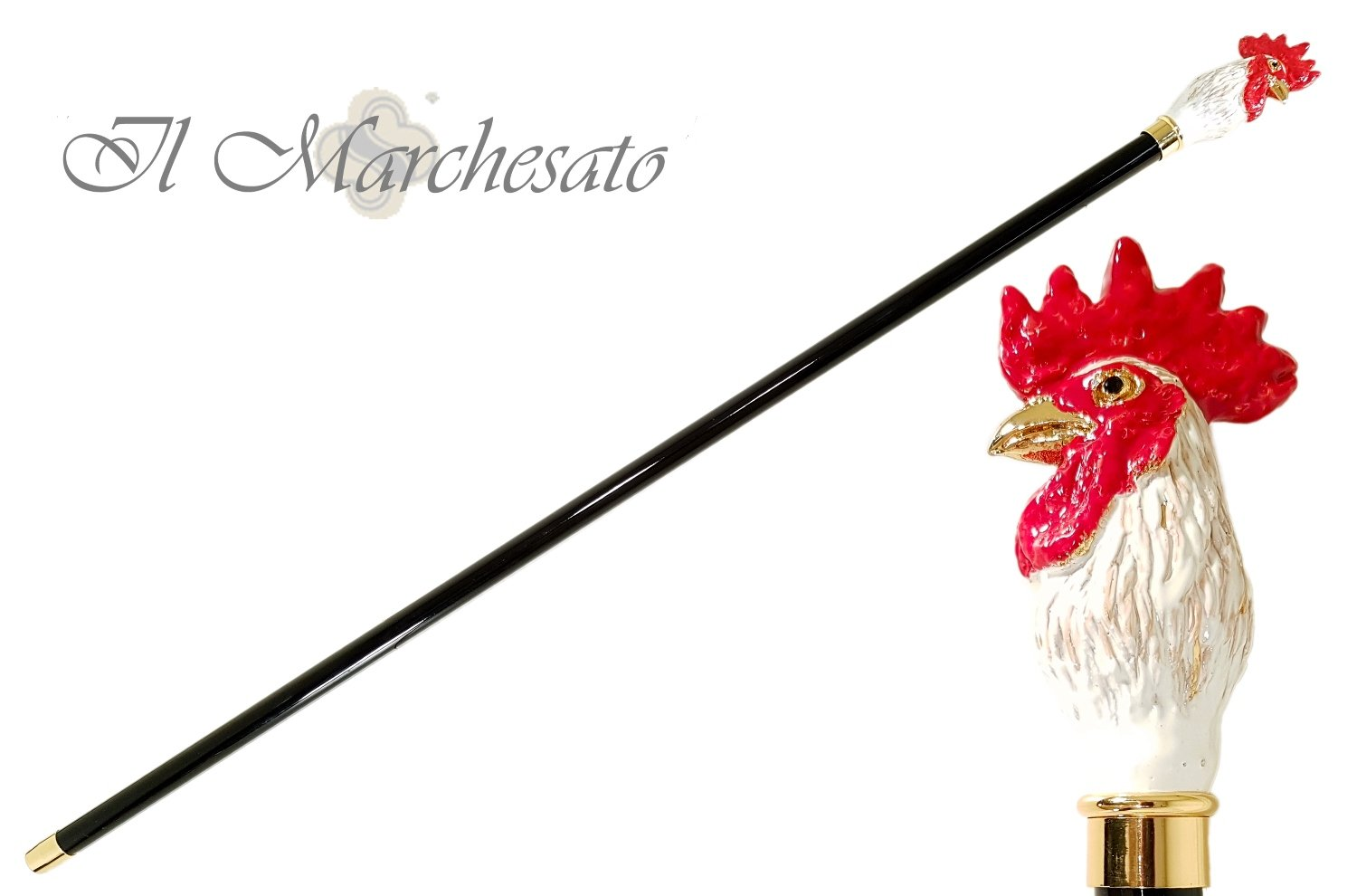 il Marchesato Luxury Rooster Walking Cane - il-marchesato