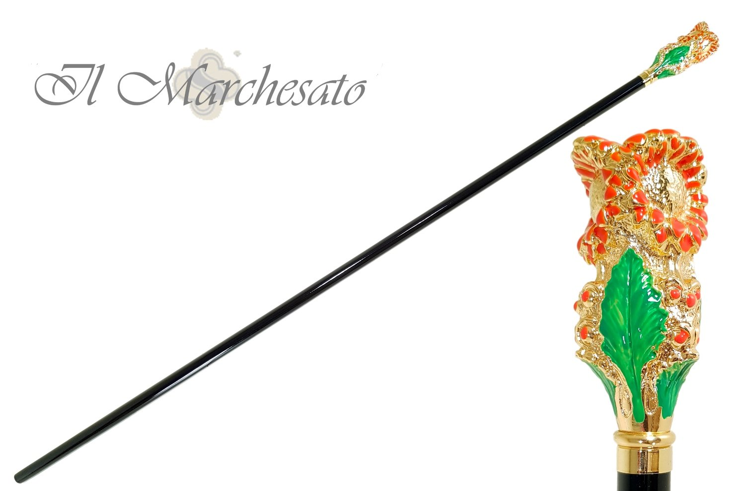 Nice Enamelled Flower - Walking Cane - il-marchesato
