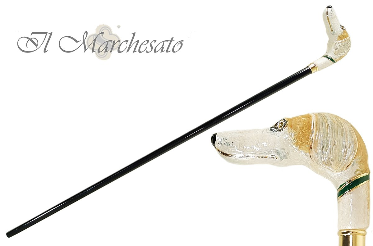 Fantastic Hand-Enamelled on 24k Gold - Greyhound - il-marchesato