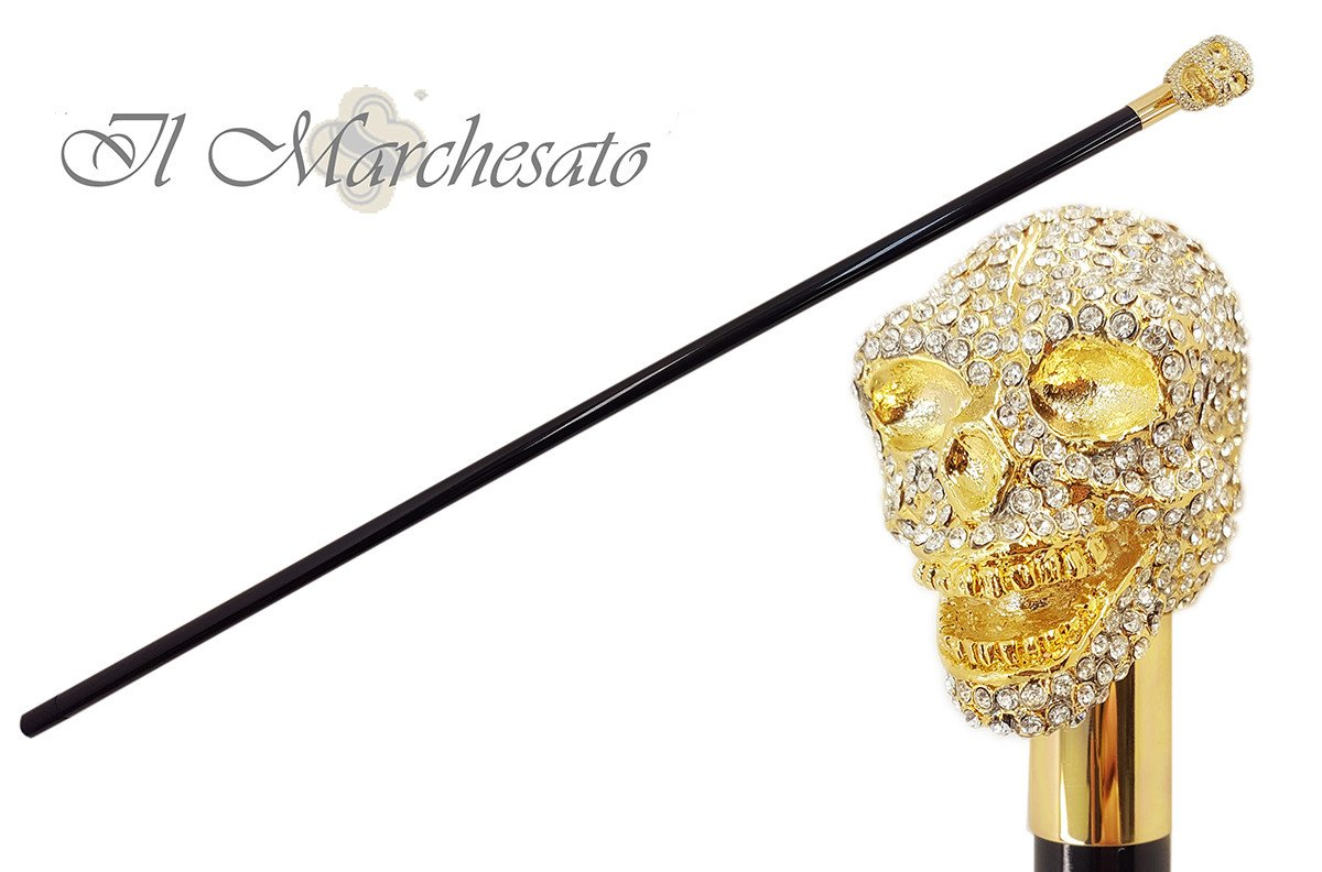 il Marchesato Lux Gold Skull Cane Encrusted with Hundreds Swarovski Cristals - il-marchesato