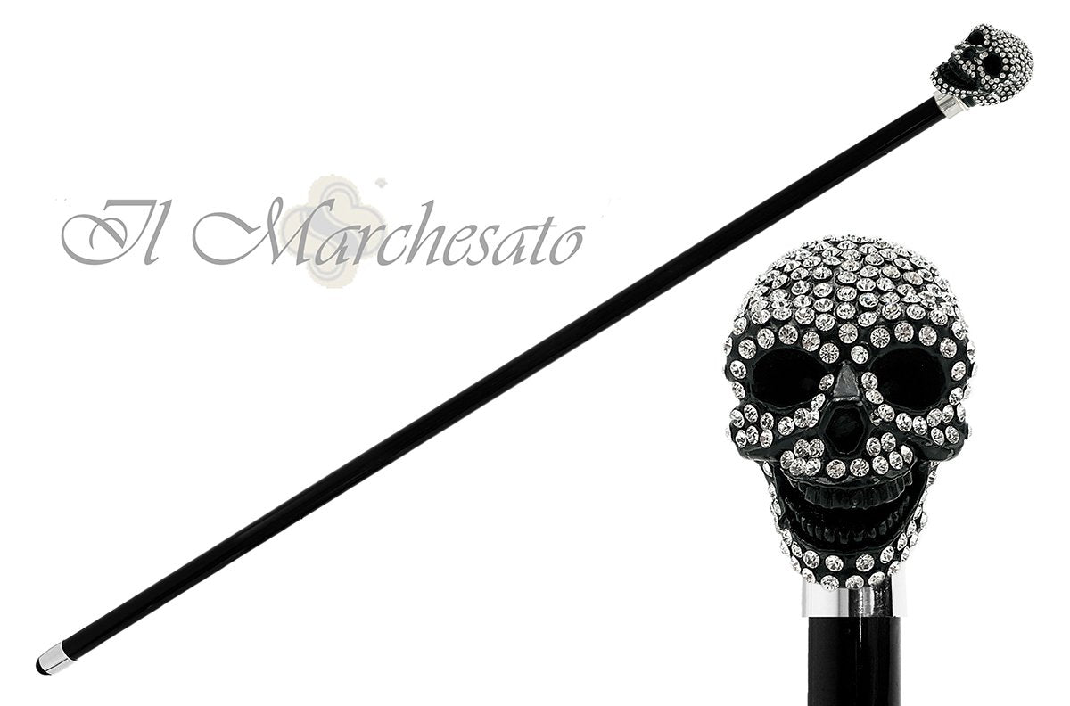 il Marchesato Lux Black Skull Cane Encrusted with Hundreds Swarovski Cristals - il-marchesato