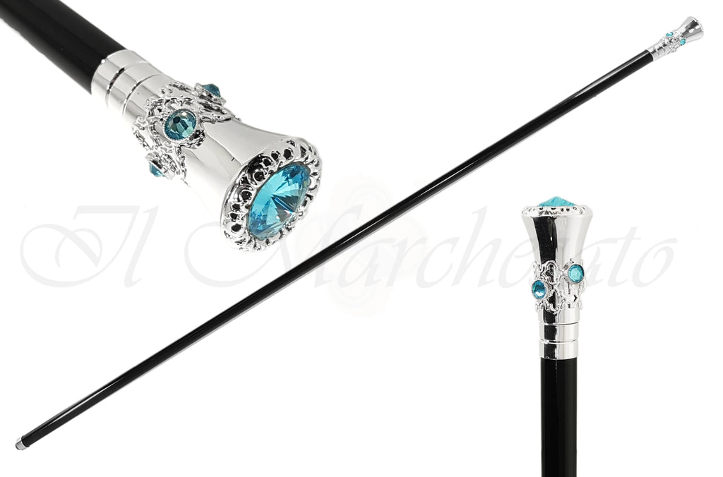 Fine Walking Sticks - Aquamarine Swarovski Strass - il-marchesato