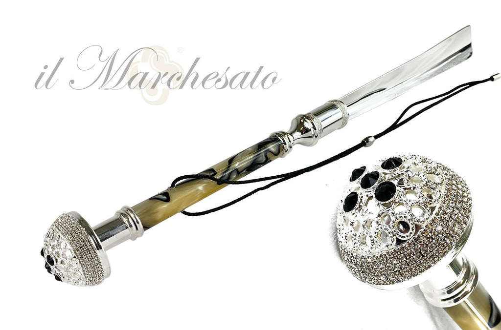 Silver-Plated Luxury Shoehorn with Brass Tongue - IL MARCHESATO LUXURY UMBRELLAS, CANES AND SHOEHORNS